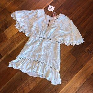 Light Blue Leaf Embroidered Dress NWT